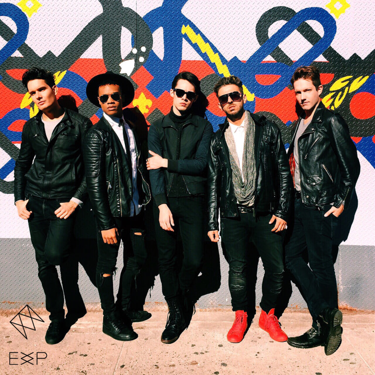 """The album cover for EXP's third single, """"Feel Like This."""" (Background artwork by 7 Train Murals)"""