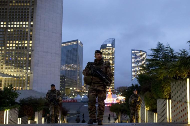 Image: French soldiers patrol the Paris business district, La Defense.