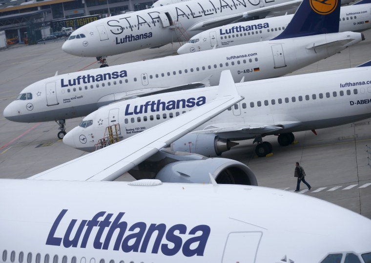 Image: File photo of Lufthansa airplanes parked on the tarmac at Frankfurt airport