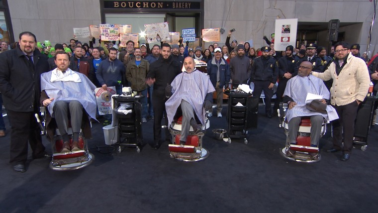 Willie Geist, Matt Lauer and Al Roker on the TODAY plaza for the big shave.