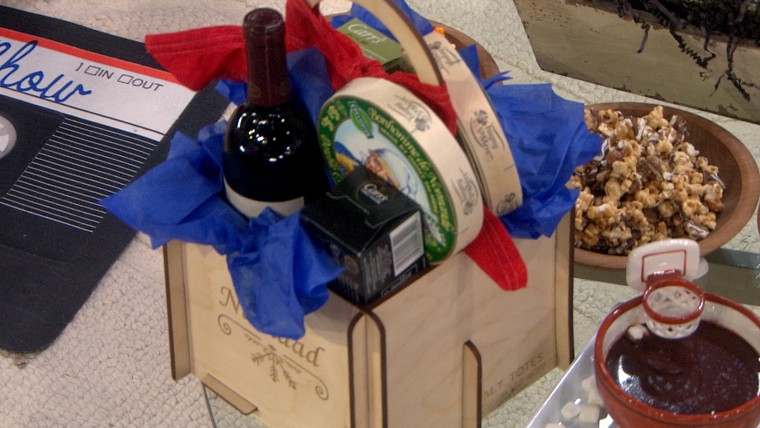 personalized caddy wine cheese
