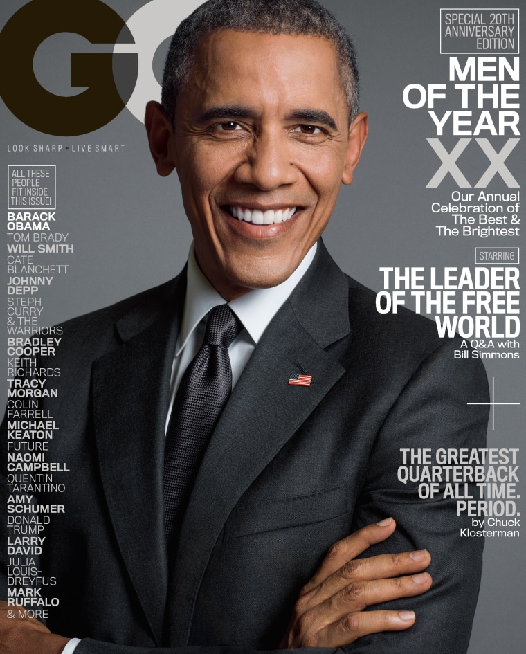 Barack Obama is featured on one of the covers of GQ's 20th anniversary issue, released in late 2015. The edition also features a candid interview with Tracy Morgan.