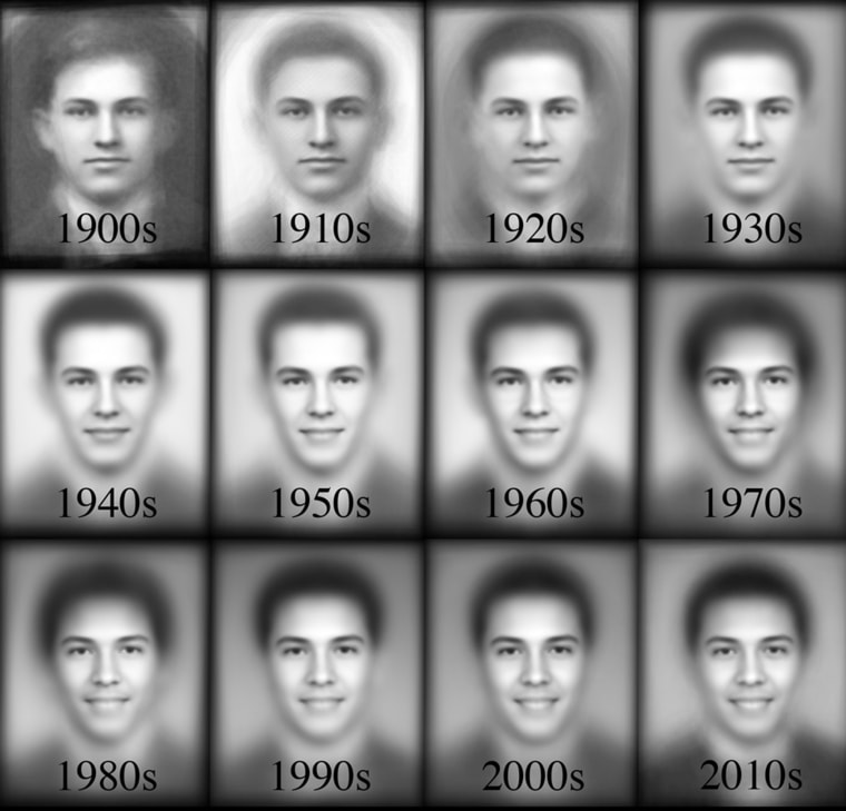 The composite images of boys' yearbook photos by decade.