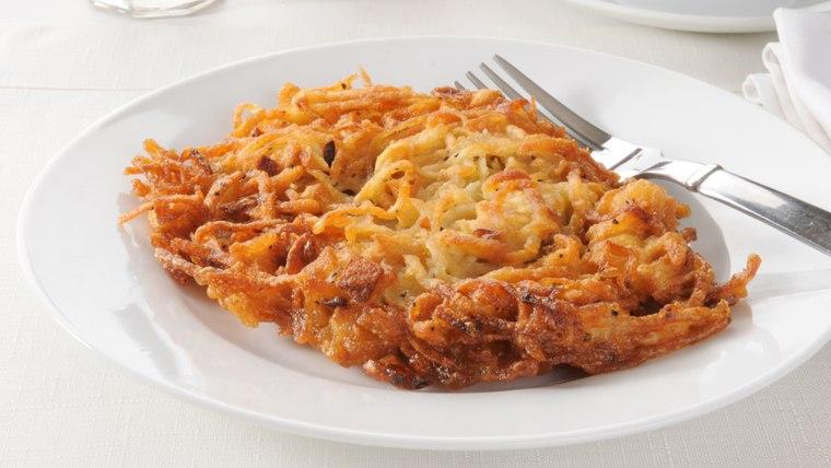 A plate with a potato latke; Shutterstock ID 90816173; PO: today.com