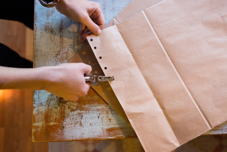DIY recycled paper bag holiday party decor