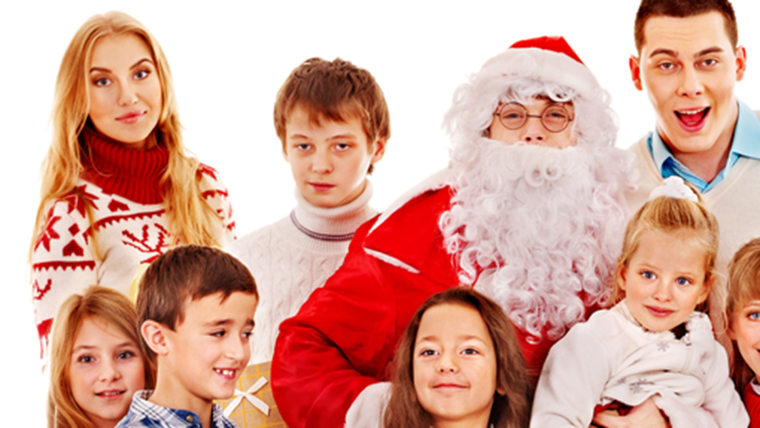 Group of children with Santa Claus.  Isolated.; Shutterstock ID 155536748; PO: TODAY.COM