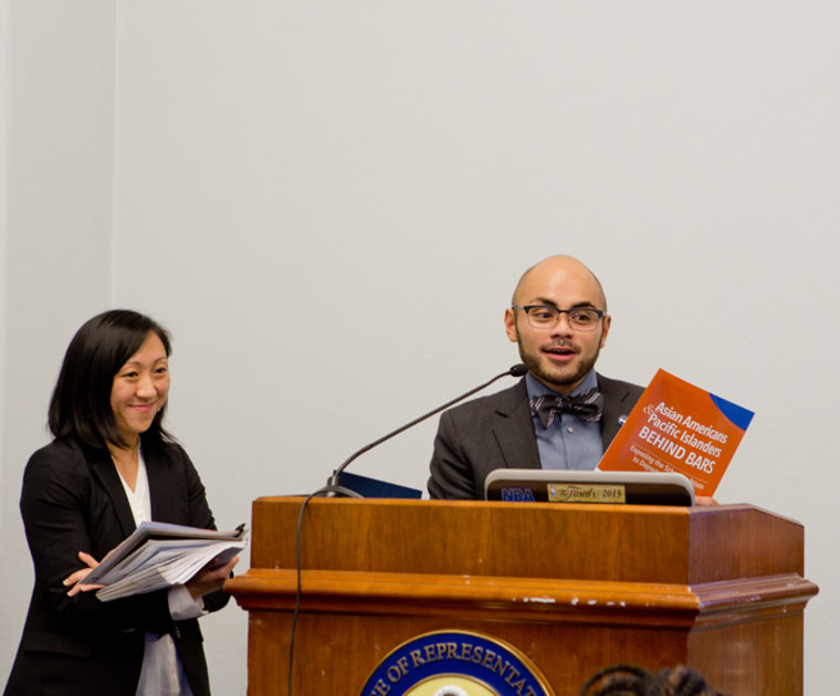"""Quyen Dinh of Southeast Asia Resource Action Center (SEARAC) and Gregory Cendana of Asian Pacific American Labor Alliance / AFL-CIO (APALA) at congressional briefing regarding the impact of mass incarceration on the AAPI community introducing """"AAPIs Behind Bars: Exposing the School to Prison to Deportation Pipeline"""""""