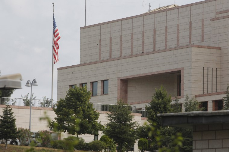 FILE: The U.S. flag flies in front of the U. S. Consulate building in Istanbul, Monday, Aug. 10, 2015.