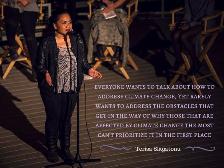 Terisa Siagatonu, 27-year-old Samoan-American spoken word poet born in San Francisco, California, was one of four poets selected to perform at the United Nations Conference on Climate Change in Paris, France.