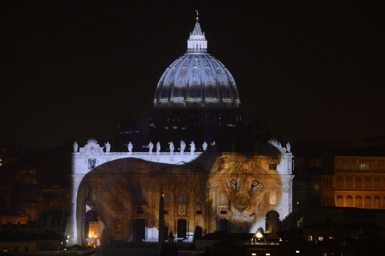 Image: A lion appears to walk across St. Peter's Basilica at the Vatican