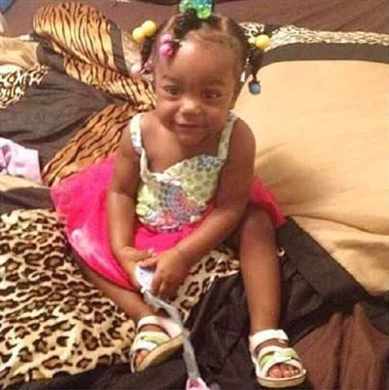 Londyn Samuels, 1, was struck by a bullet fired into her 18-year-old nanny's back Friday in New Orleans.