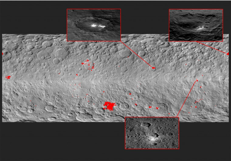 Mosaic showing 130 bright spots on Ceres.