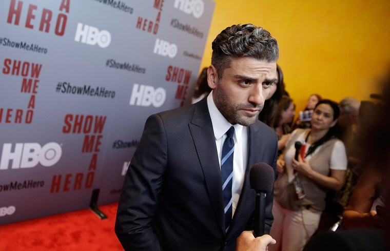 Oscar Isaac attends 'Show Me A Hero' New York Screening at The New York Times Center on August 11, 2015 in New York City.