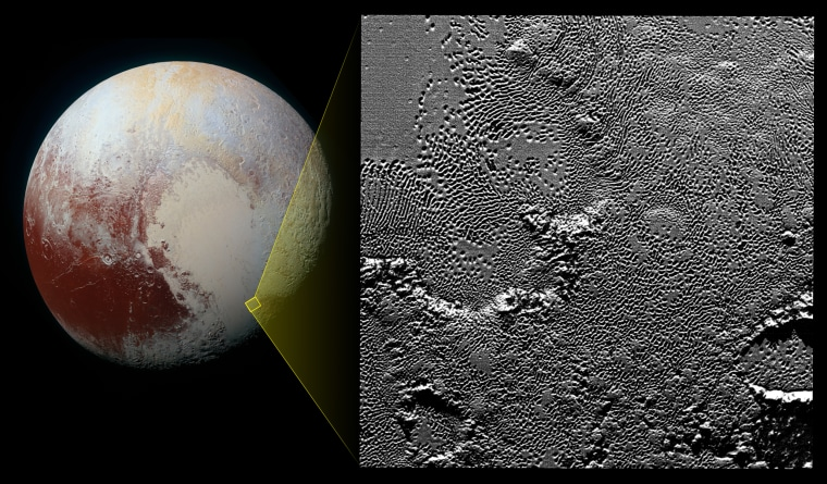 The region of Pluto's Tombaugh Regio shown in the close-up photo.