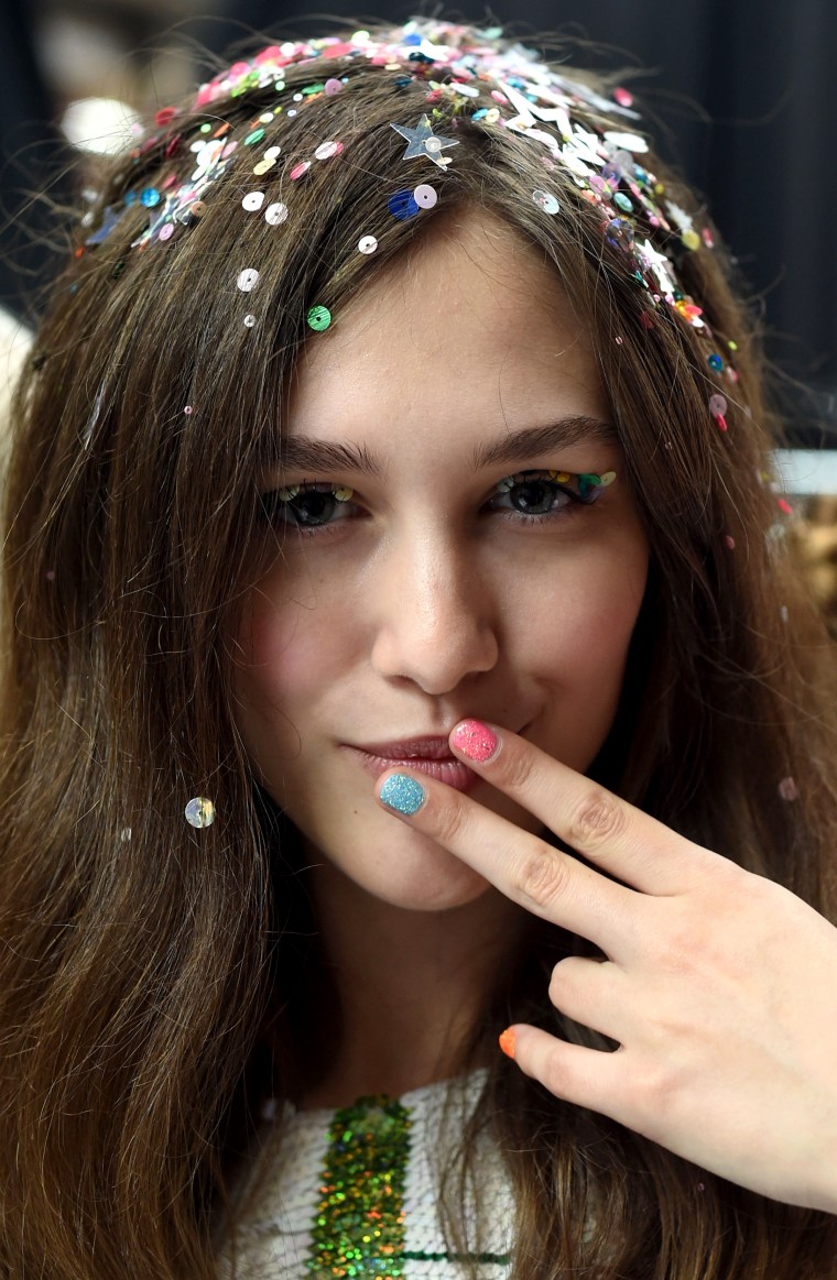 Ashish's sparkly hair - Backstage - LFW SS16