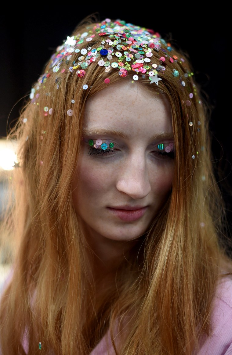 Ashish's sparkly hair Backstage - LFW SS16