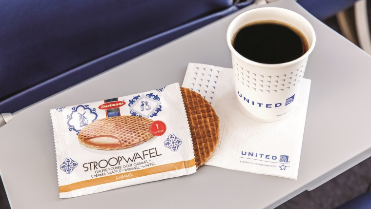 A stroopwafel, begging to be warmed up over coffee.