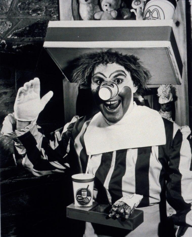 Willard Scott poses as the first Ronald McDonald.