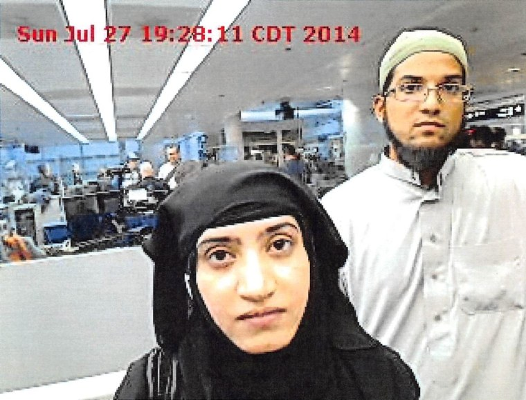 Syed Farook and Tashfeen Malik arrive in Chicago on July 27, 2014.