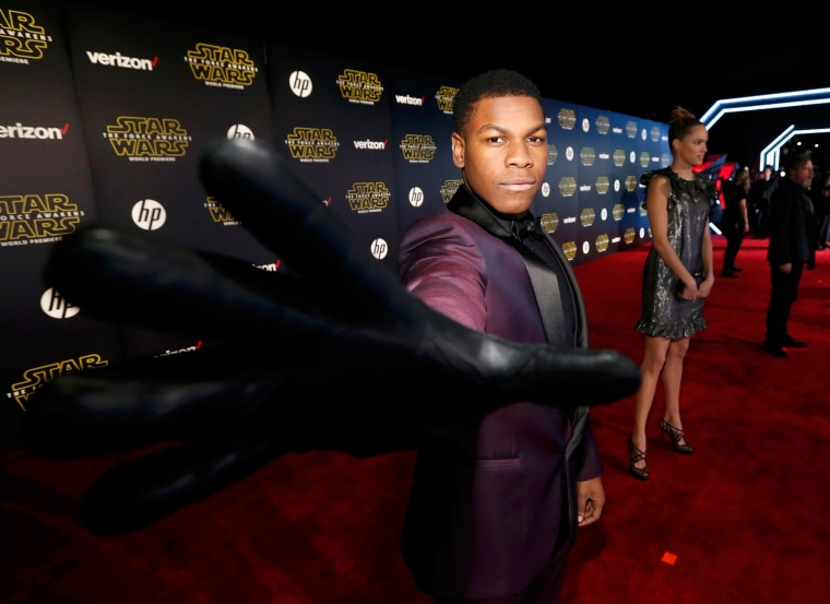 "Image: Actor John Boyega arrives at the premiere of ""Star Wars: The Force Awakens"" in Hollywood"