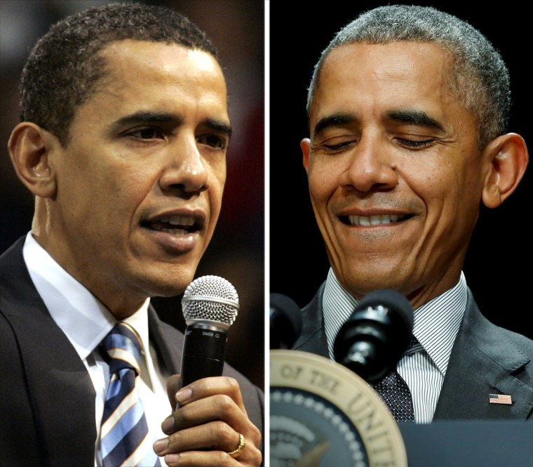 Barack Obama campaigns in 2008 and President Obama in 2015.