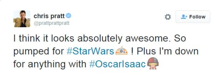 Chris Pratt Tweet Star Wars