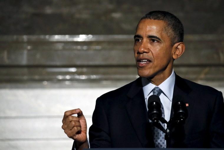 Image: U.S. President Barack Obama delivers remarks at naturalization ceremony at the National Archives Museum in Washington