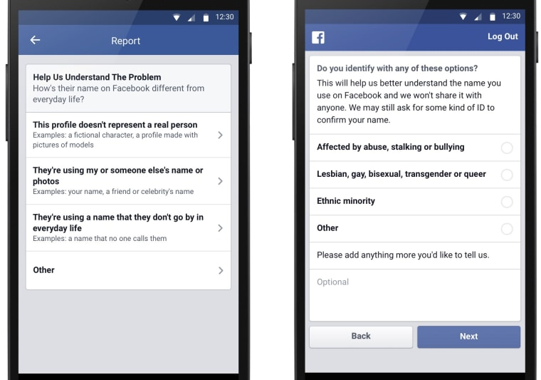 New options for those reporting a Facebook account (left) and for those who have been reported (right).