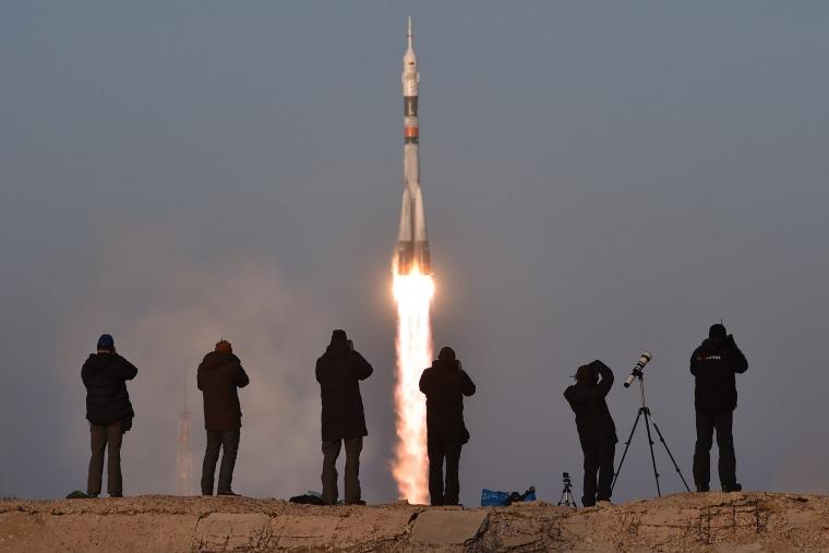 Image: TOPSHOT-KAZAKHSTAN-RUSSIA-US-BRITAIN-ISS-SPACE