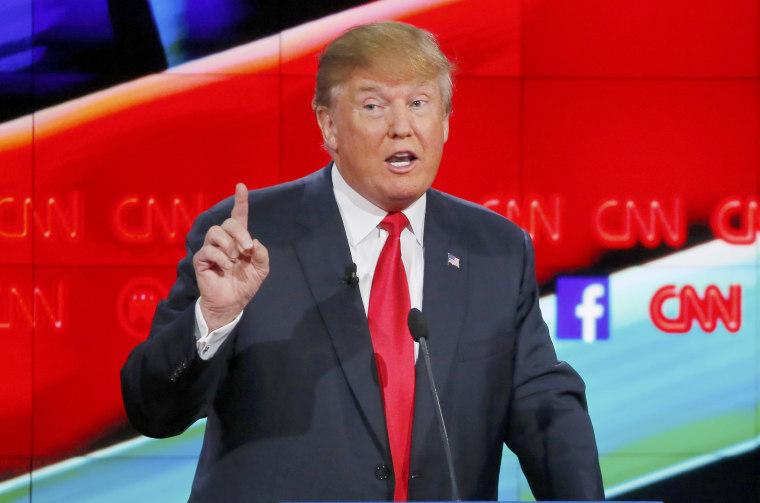 Image: Republican U.S. presidential candidate businessman Donald Trump speaks during the Republican presidential debate in Las Vegas