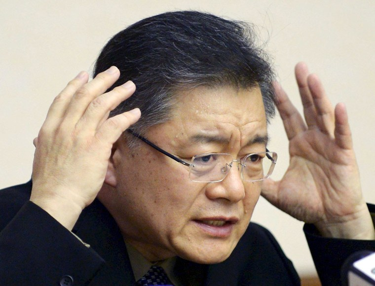 Image: File photo of Hyeon Soo Lim speaking during a news conference in Pyongyang