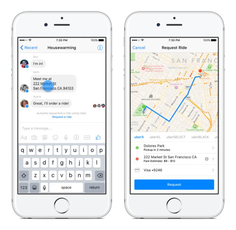Image: Uber on Facebook Messenger