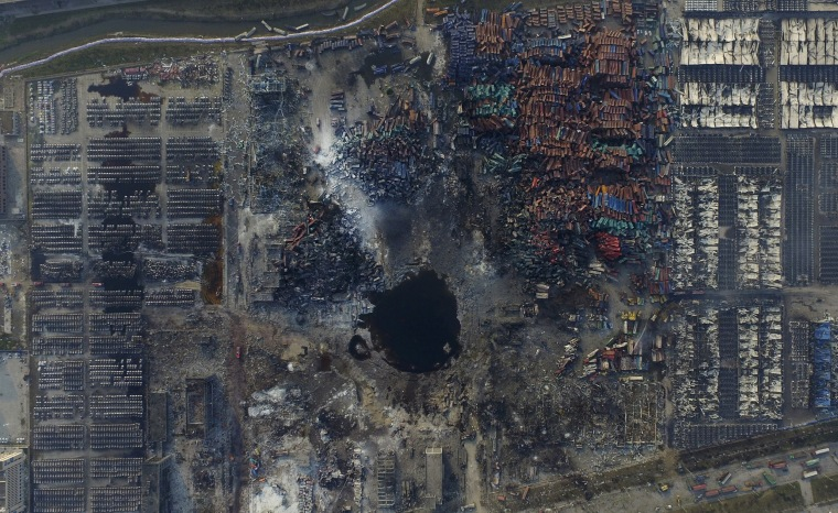Image: An aerial picture of the site of explosions at the Binhai new district, Tianjin