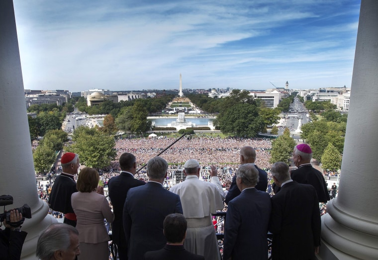 Image: His Holiness Pope Francis is welcomed to the Speakers Balcony at the US Capitol by members of Congress in Washington