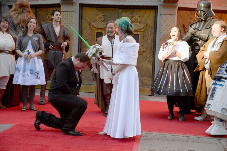 "Image: Two ""Star Wars"" Fans Get Married In The Forecourt Of The TCL Chinese Theatre"