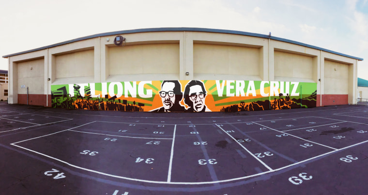 The new name of the Alvarado Middle School in Union City, Calif., honors Filipino-American labor leaders Larry Itliong and Philip Vera Cruz. Joe Angeles, a school counselor who led the renaming effort, said the school has a 30 percent Filipino-American student population.