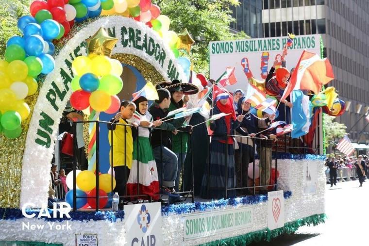 Latino Muslims in the Hispanic Day Parade, New York NY 2014.