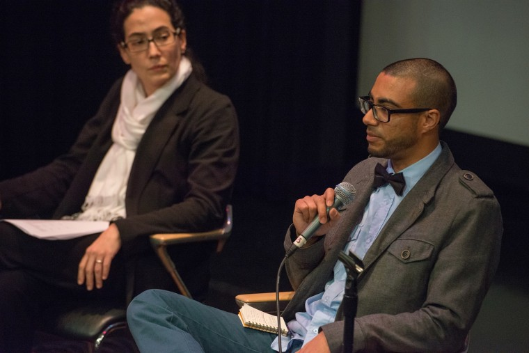 """Harold Morales (right) speaks at """"The Muslim Experience in Baltimore"""" event, Walters Museum, Baltimore, December 2015."""