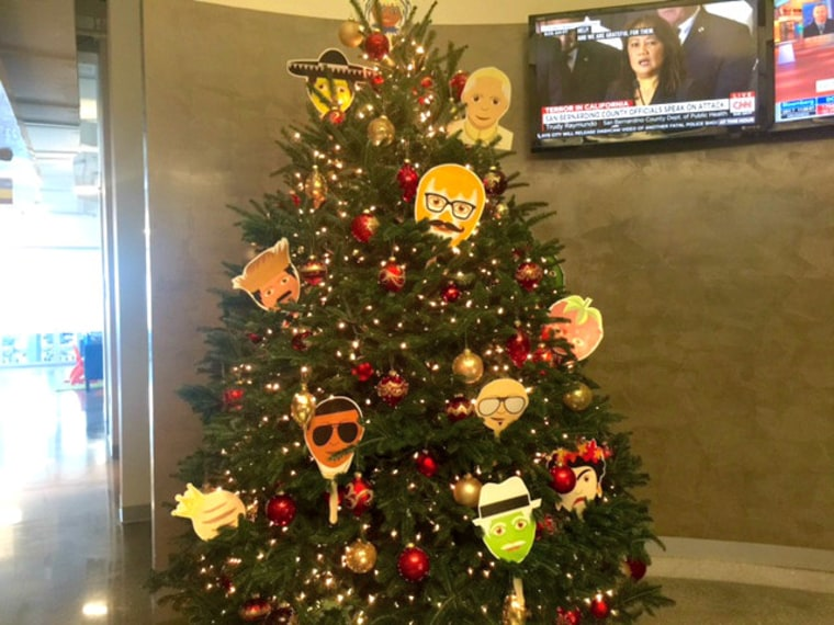A Christmas tree at Zubi decorated with their Latino emojis.