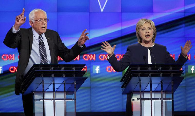 Image: Democratic presidential candidates U.S. Senator Bernie Sanders and former Secretary of State Hillary Clinton