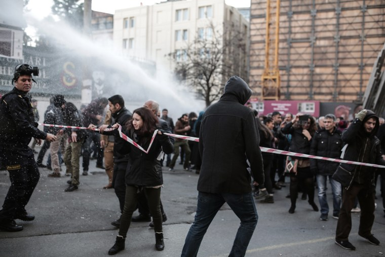 Image: protest against security operations against Kurdish rebels in southeastern Turkey