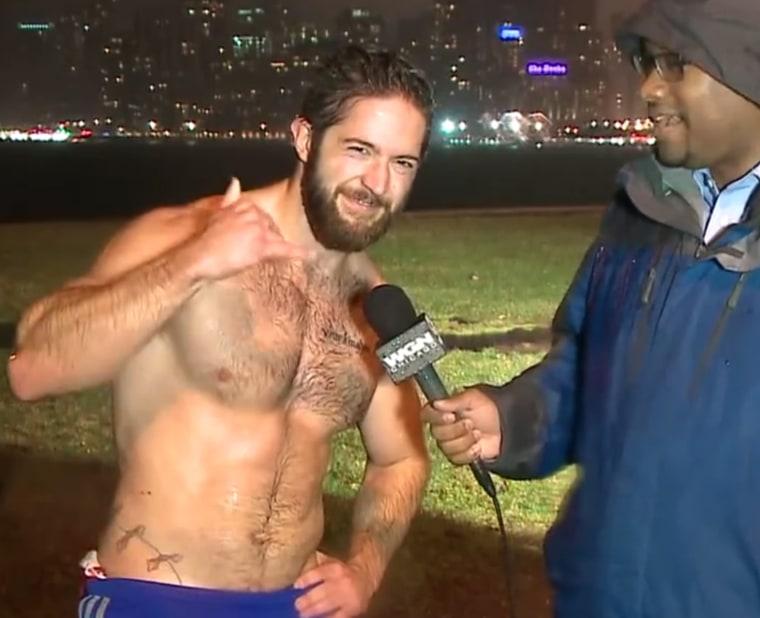 Shirtless runner Ethan Renoe makes big splash on weather report