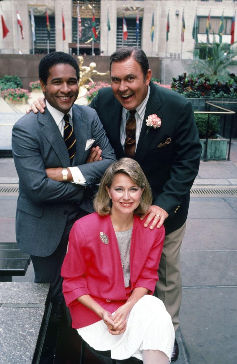 Bryant Gumbel, Jane Pauley and Willard Scott on Rockefeller Plaza.