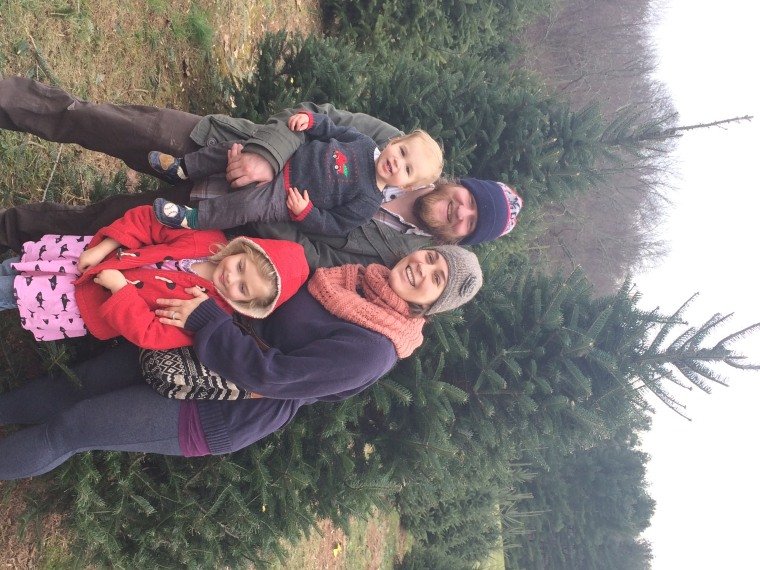 The Bregel family on their annual tree-hunting adventure.
