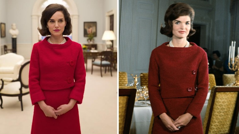 """Natalie Portman (left) as Jacqueline Kennedy (right) in the new film """"Jackie."""""""