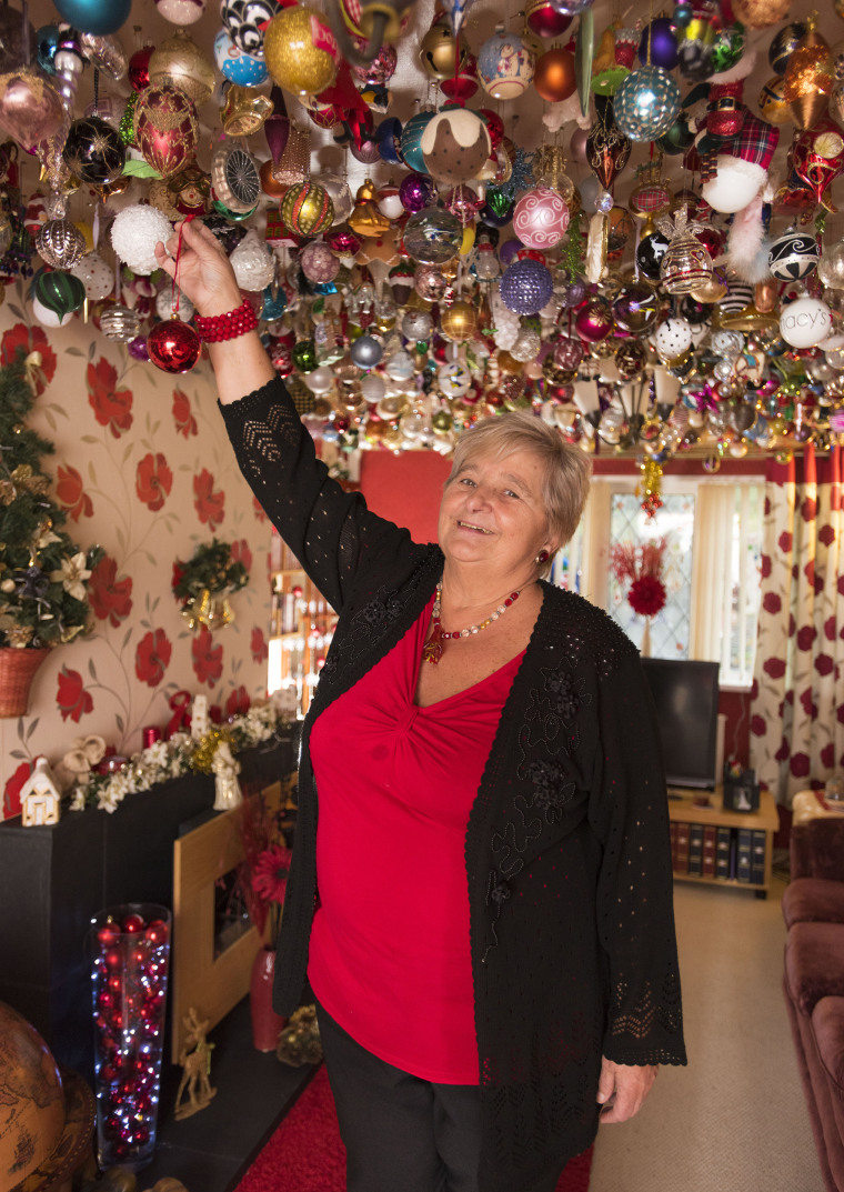 Thousands of Christmas ornaments in home