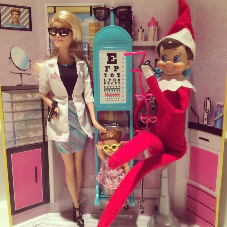 The Elf gets an eye exam...from Barbie!