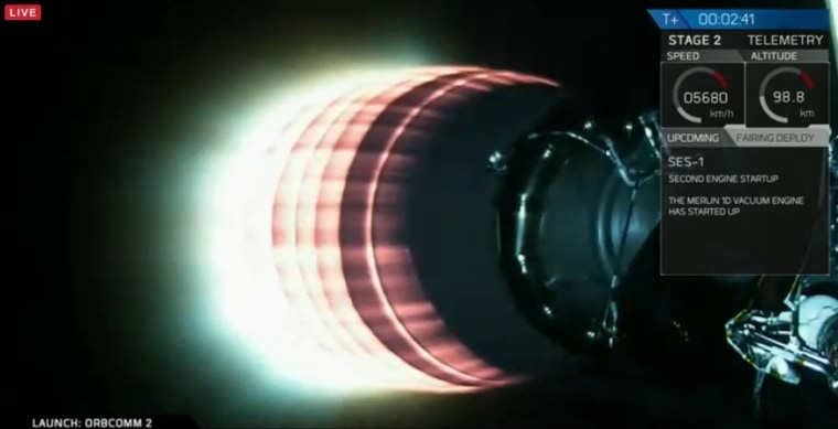 The Falcon 9's stage 2 rocket heats up after igniting, driving the payload into orbit.
