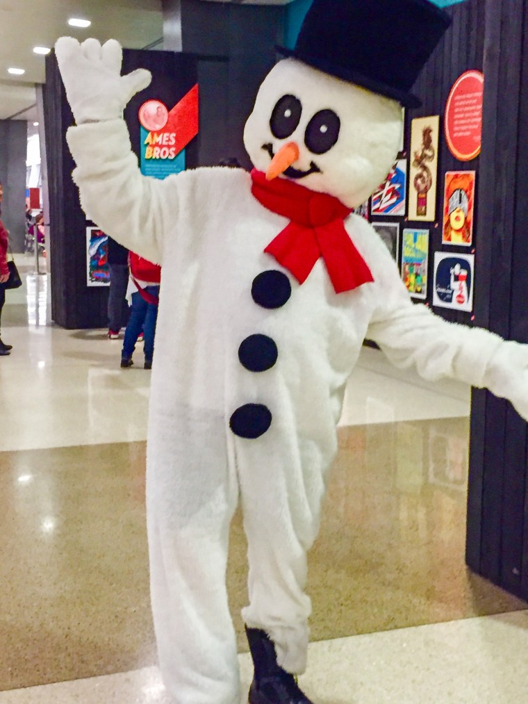 Frosty the Snowman and other holiday characters are spreading cheer at Seattle-Tacoma International Airport.