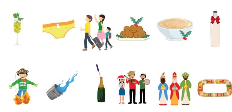 Some Christmas Latino Emojis from Zubi Advertising.
